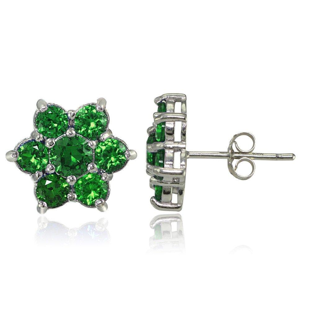 Sterling Silver Genuine and Created Gemstone Flower Stud Earrings