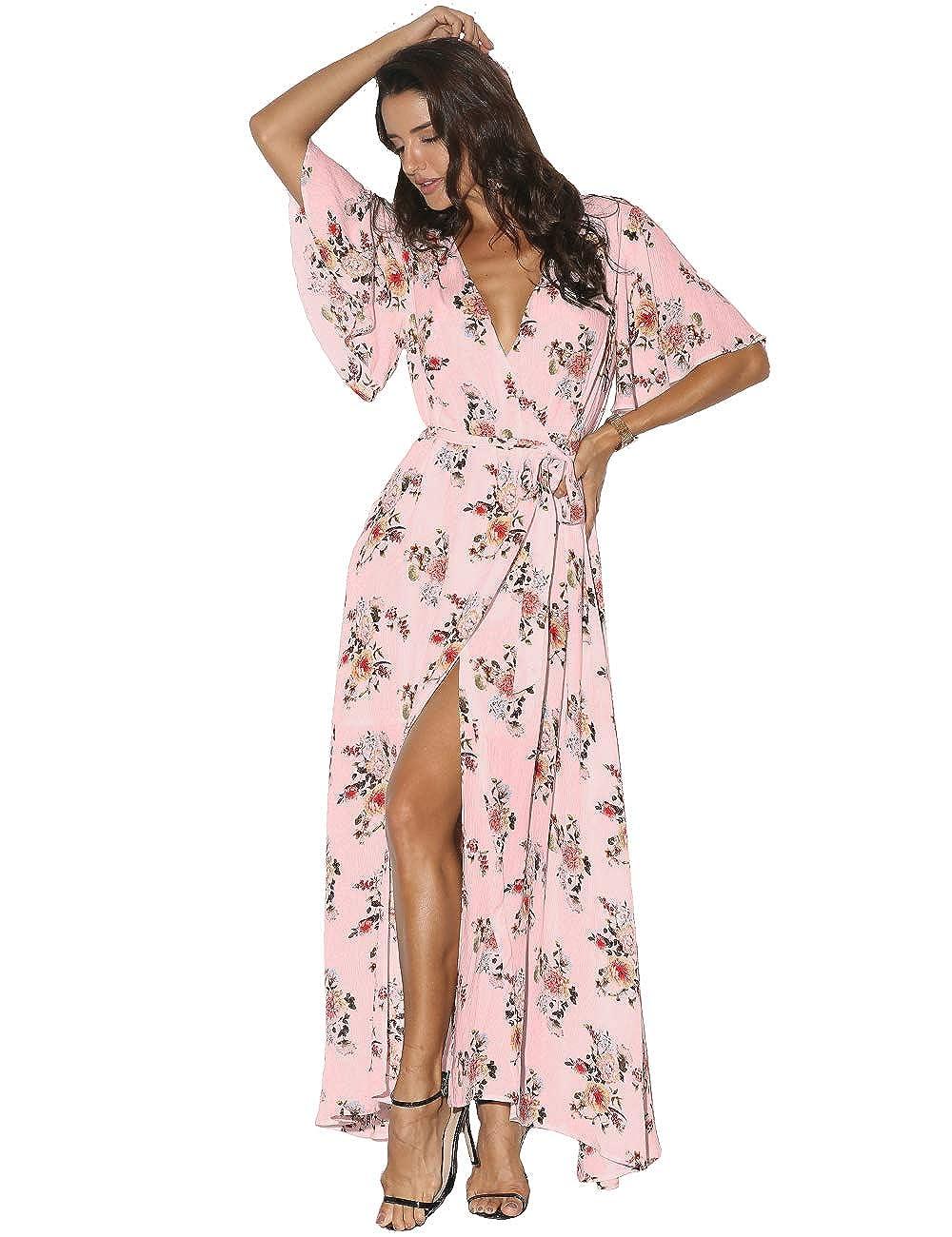 1ec7ec1caab Azalosie Women Wrap Maxi Dress Floral Short Sleeve Flowy Slit Tie Waist  Summer Beach Party Wedding at Amazon Women s Clothing store