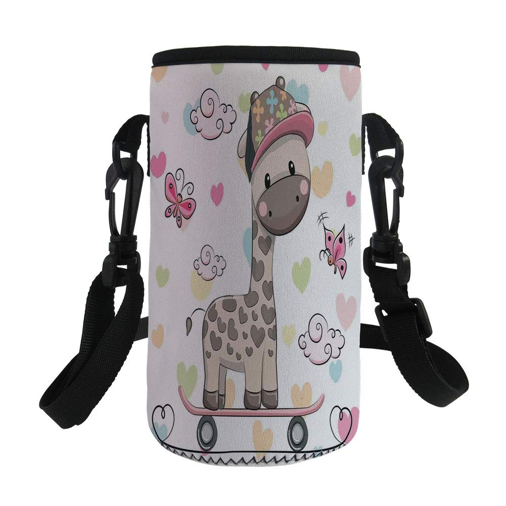 Small Water Bottle Sleeve Neoprene Bottle Cover,Kids,Cute Cool Giraffe Wearing Cap on a Skate Board with Butterflies Fun Colorful Hearts Print Decorative,Great for Stainless Steel and Plastic/Glass B