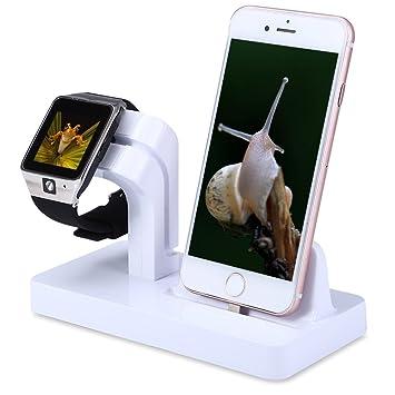 FACEVER Soporte de Cargador para Apple Watch, Soporte y Estación de Carga para Apple iWatch Series 3/2/1, iPhone X 8 7 Plus 6S, iPod -Blanco
