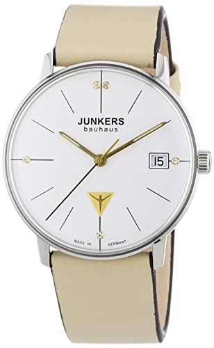 Junkers Bauhaus - Reloj de cuarzo para mujer, correa de cuero color beige: Amazon.es: Relojes