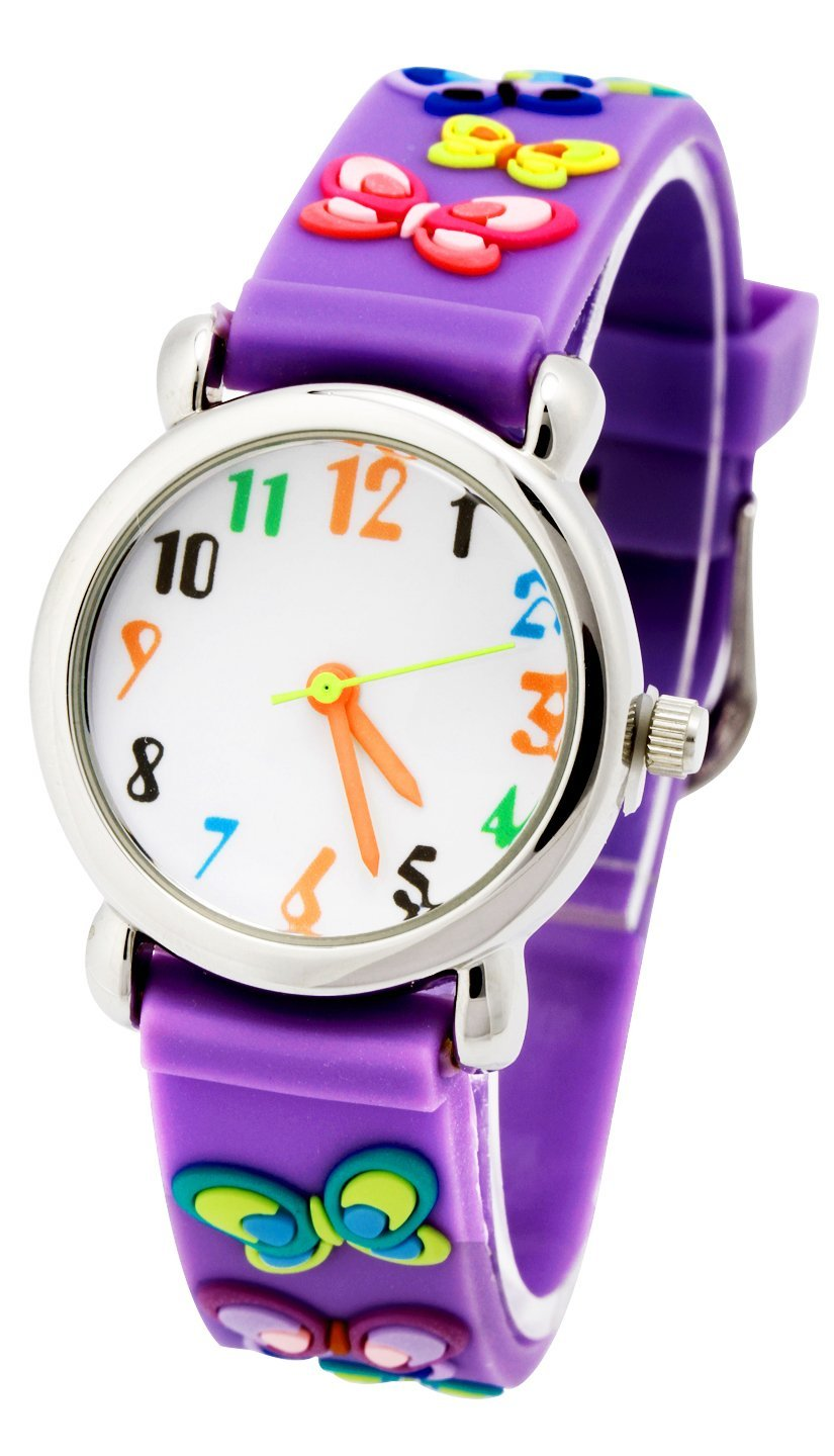 Readeel Purple Silicone Absolutely Environmentally Friendly Materials Battefly Band Kids Watch Cartoon Watch