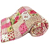 Shopnetix Polycotton Single Bed AC Dohar/Blanket (Pink Check) (Multicolor)