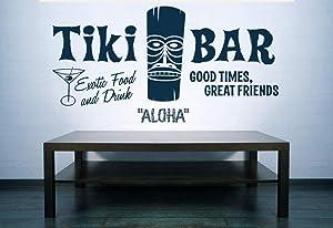 Tiki Bar Tiki Decor Tiki Bar Sign Aloha Hawaii Hawaiian Decor Wall Decal Retro Ad Wall Art Wall Decal Restaurant Kitchen Decor Made in USA
