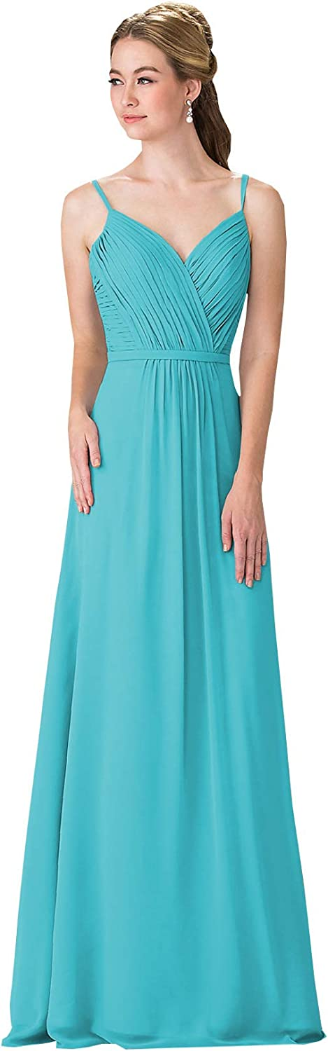 Now and Forever Womens V-Neck Bridesmaid Dress Long Formal Pleated A-line Chiffon Evening Gown with Belt