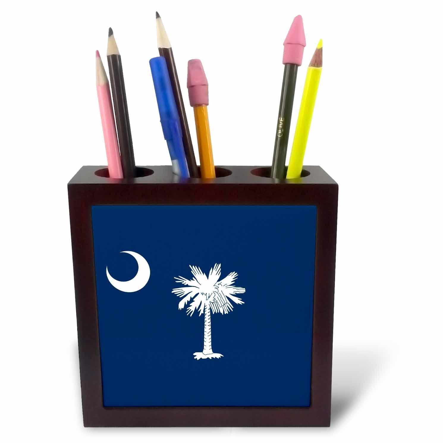 3dRose ph_158433_1 Flag of South Carolina SC Us American United State of America USA White Palmetto Tree Indigo Blue Tile Pen Holder, 5''