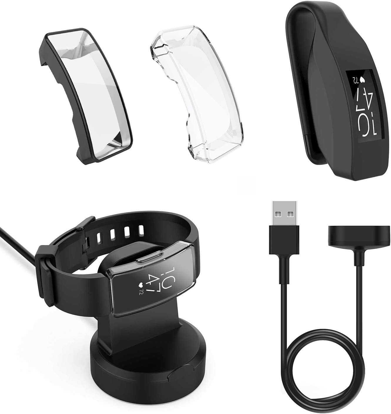 for Fitbit Inspire & Inspire HR Smartwatch Accessoory Kit, 5-in-1 Pack Includes Charger Stand, 3.3ft Charging USB Cable, Clip Holder and 2pcs Full Coverage Scratchproof Protective Case