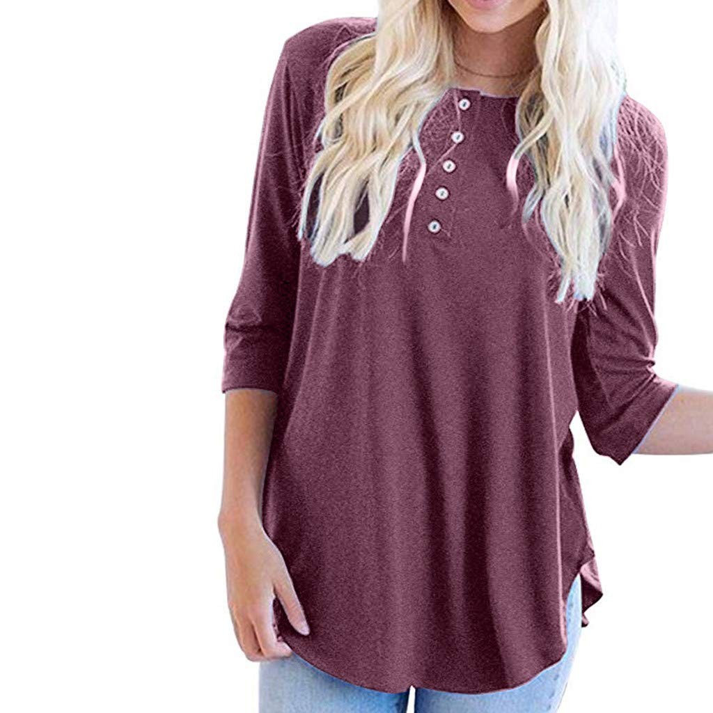HULKAY Upgrade Women's Round Neck Long Sleeve Button up Slim Fit Shirt Tops Boho(Red,XL)