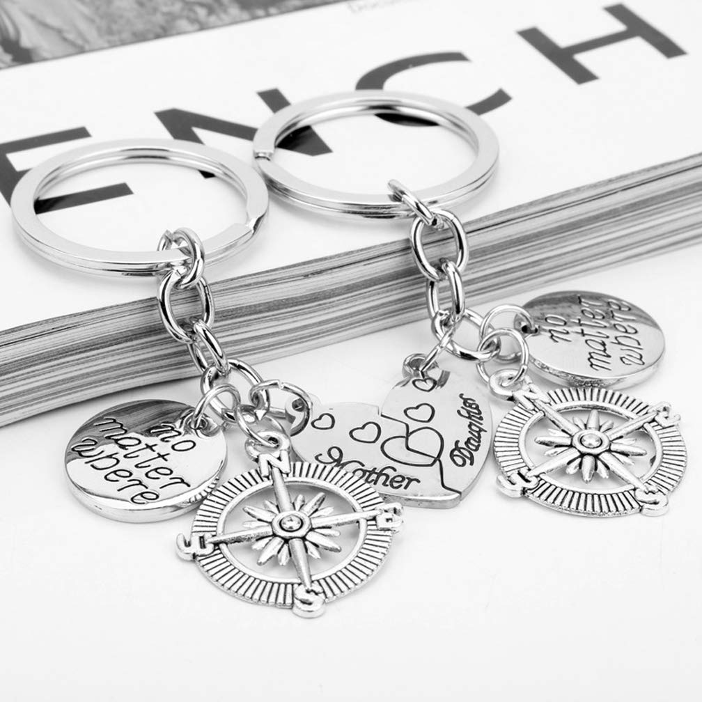 Mom Key Ring Set Daughter Mom Key Chain Set Mothers Day Gift Key Ring Mother Daughter No Matter Where Pendant Keyring for Women Girl Set of 2pcs