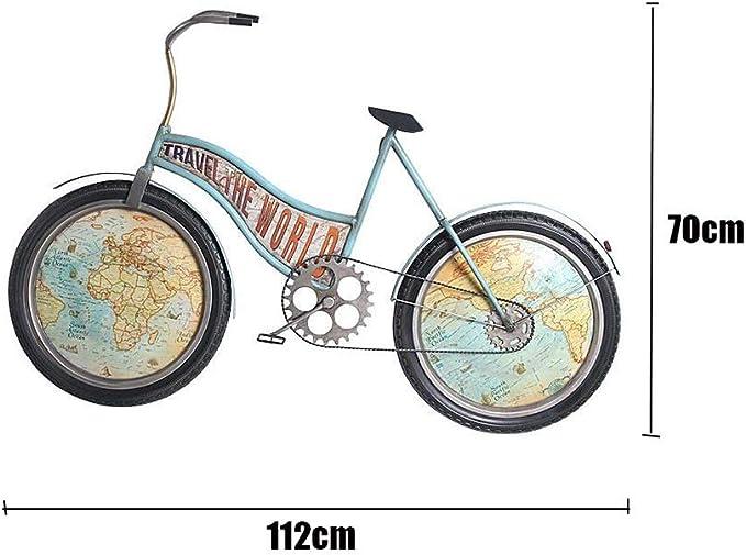 Reloj de Pared Creativo Bicicleta Hierro Arte Silencioso Vintage ...