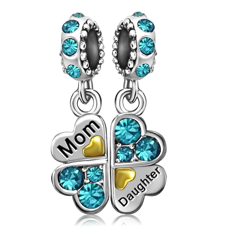 JMQJewelry Heart Mom Love Daughter Clover Charm Birthstone Crystal Dangle For Charms Bracelets