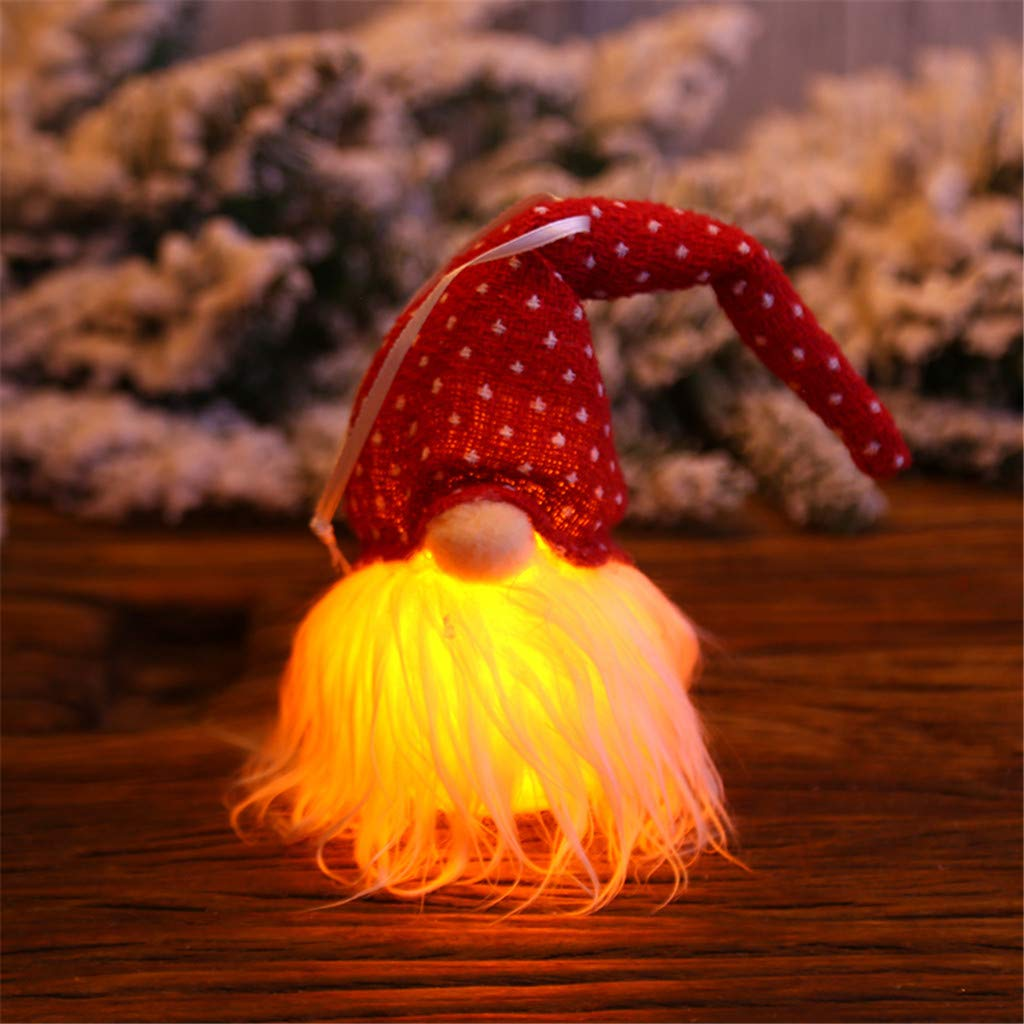 Red Chezaa Christmas Lighted Ornaments Santa Night Lights Hanging Craft for Xmas Tree Indoor Holiday Home Party New Year Decorations