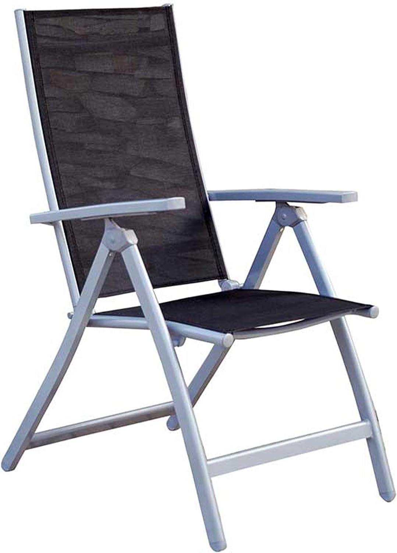 MOMMA HOME Silla de Jardín de 5 Posiciones - Silla de Aluminio Resistente- Modelo Lima - Diseño Moderno - Comodidad Asegurada - Ideal para Jardines y Terrazas - Medidas 42x53x98 cm - Color Negro