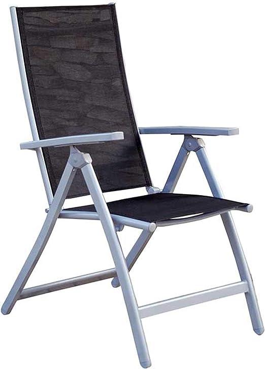MOMMA HOME Silla de Jardín de 5 Posiciones - Silla de Aluminio Resistente- Modelo Lima - Diseño Moderno - Comodidad Asegurada - Ideal para Jardines y Terrazas - Medidas 42x53x98 cm - Color Negro: Amazon.es: Jardín