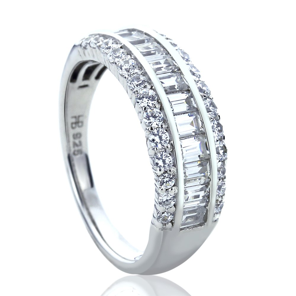 Platinum Plated Sterling Silver 0.8ct Baguette CZ Channel Wedding Anniversary Ring ( Size 5 to 9 ), 5