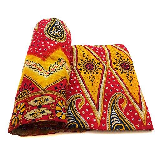 Vintage Kantha Quilt Decorative Indian Cotton Bedspread Ethnic Bedding Ralli