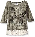 Beautees Big Girls' Printed Top With Crochet Hem and Back seem, Gold, X-Large