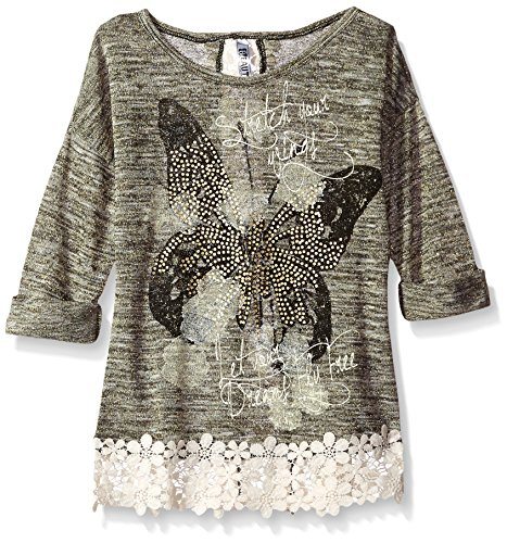 Beautees Big Girls' Printed Top With Crochet Hem and Back seem, Gold, X-Large by Beautees