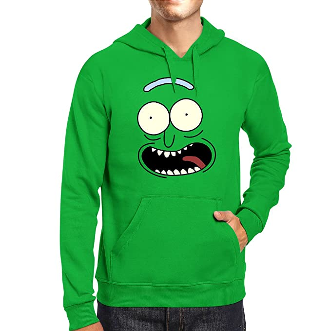 TeeTrumpet Pickle Rick and Morty Face Mens Hooded Sweatshirt