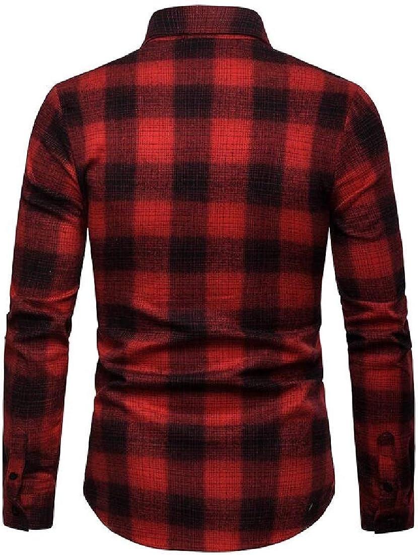 YYG Mens Checkered Casual Slim Fit Lapel Long Sleeve Button Down Dress Shirt