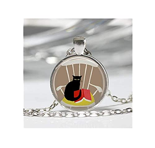 Super Amazon Com Elf House Reading Cat In Rocking Chair Necklace Squirreltailoven Fun Painted Chair Ideas Images Squirreltailovenorg