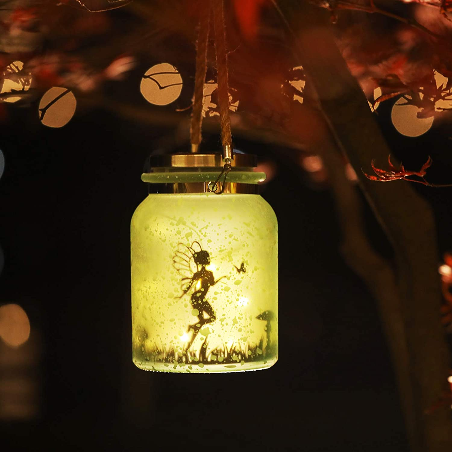 Details about  /Solar Lantern Fairy Lights Ideal for Great Gifts White Frosted Glass Hanging Jar