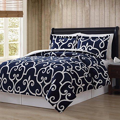 Flannel Rooster Down Alternative Comforter Mini Set, Blue Scroll (Full/Queen) ()