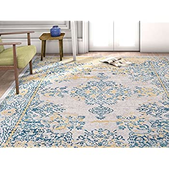 Amazon Com Ogee Waves Lattice Grey Gold Blue Ivory Floral