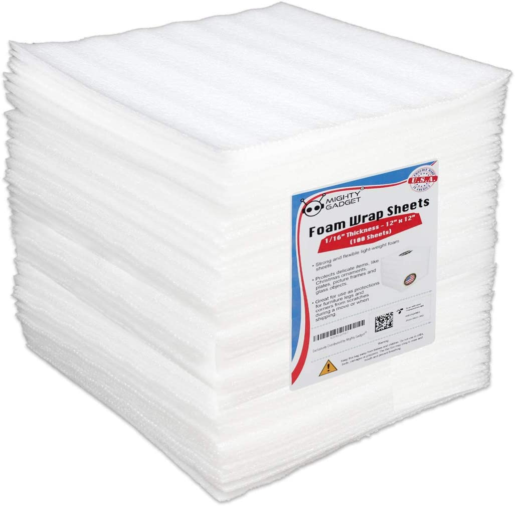 """100 Pack Mighty Gadget (R) 12"""" X 12"""" X 1/16"""" Moving Supplies Packing Foam Sheets (White): Office Products"""