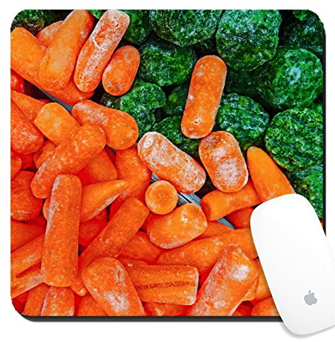 Luxlady Suqare Mousepad 8x8 Inch Mouse Pads/Mat design IMAGE ID: 34633131 Bunch with carrots and broccoli frozen put together