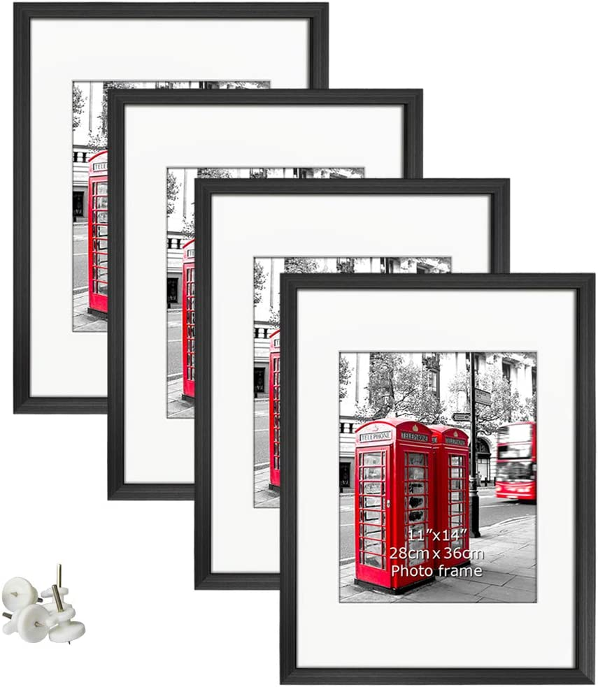 Giftgarden 16x20 Poster Frames Set of 4, Display Photos 11x14 with Mats or 16 x 20 without Mats Black Picture Frame for Wall Decor