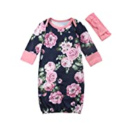 ITFABS Newborn Baby Girls Floral Grown Long Sleeve Sleeper Pajamas Sleepwear with Headband (Navy Blue Pink, 6-9 Months)
