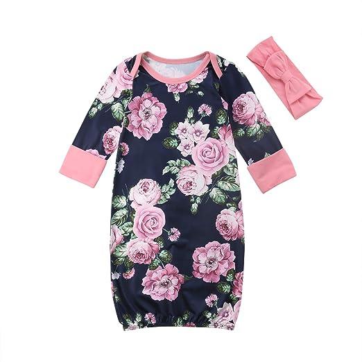 482047c9de20 ITFABS Newborn Baby Girls Floral Grown Long Sleeve Sleeper Pajamas Sleepwear  with Headband (Navy Blue