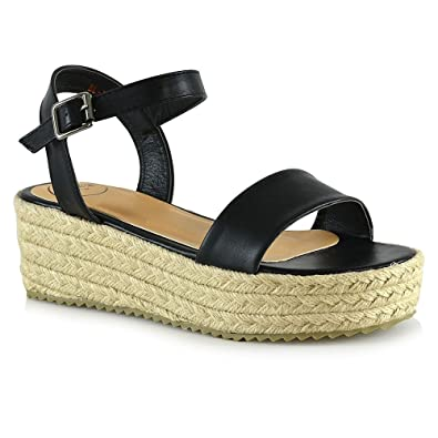 000d2ddf74 ESSEX GLAM Womens Platform Sandals Black Synthetic Leather Flat Wedge Ankle  Strap Espadrilles Shoes 5 B
