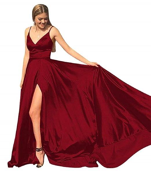 33b81205ef Prom Dress Spaghetti Straps Deep V-Neck Backless Split Evening Dresses Long  with Pocket Formal