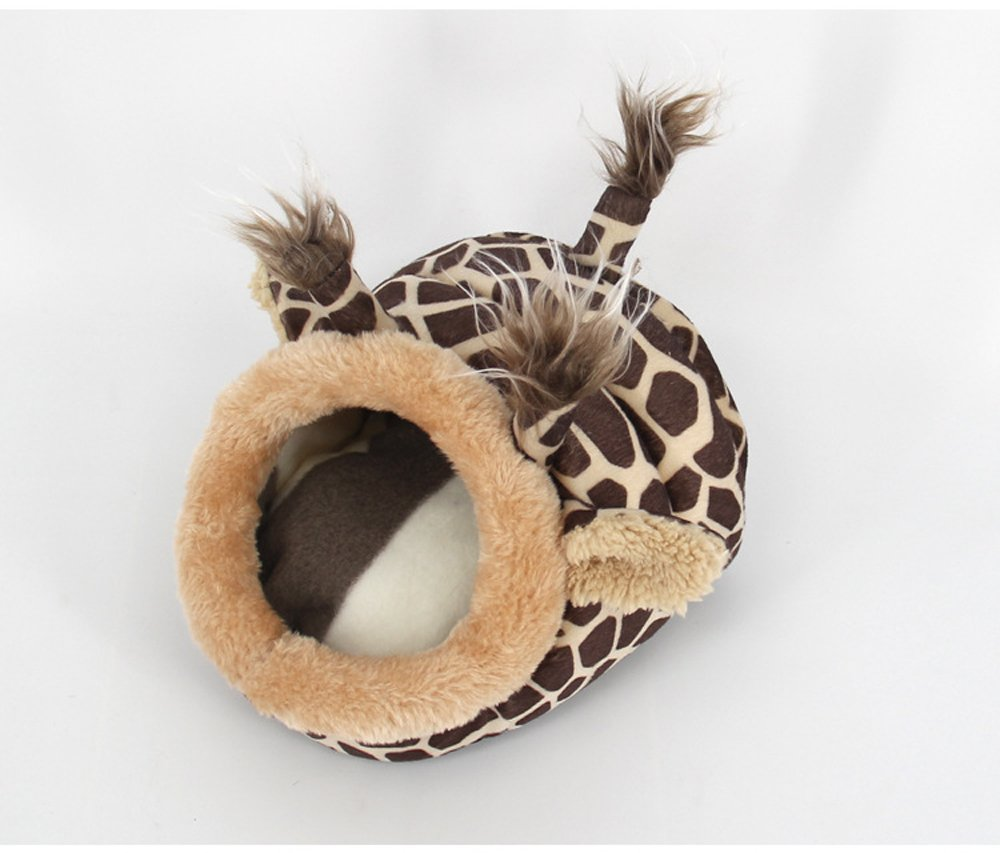 Small Animals Hamster Sleep Bed Cave Plush Warm House Sofa Cage Accessories for Hedgehog Dwarf Mouse Rabbit Totoro Guinea Pigs Squirrels (S: 7'' L x 6.6'' W x 5.2'' H, Brown Giraffe) by Evursua