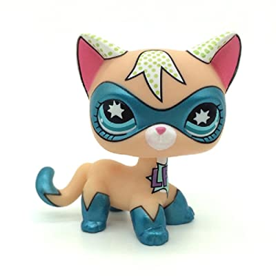 wdd Littlest Pet Shop Masked Super Hero Short Hair cat LPS Toys Comic Con Kitty: Toys & Games