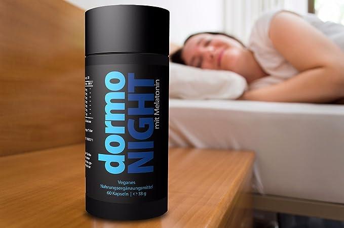 Somnífero a dormir con melatonina y valeriana. 60 cápsulas vegetarianas con 5 HTP, Gaba, Ginkgo Biloba y L-Tyrosine para dormir y conciliar el sueño.