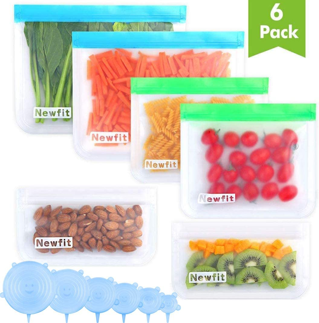 Reusable Ziplock Bags Dishwasher Safe BPA FREE - Reusable Storage Bags Reusable sandwich Storage bags Reusable Silicone Food Storage bags