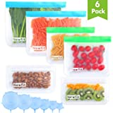 Updated 2020 Version Stasher Reusable Storage Bags - 6 Pack BPA FREE Freezer Bags(2 Gallon Bags + 2 Leakproof Sandwich Bags + 2 THICK Snack Bags) Ziplock Lunch Bags for Food Marinate Meat Fruit Cereal