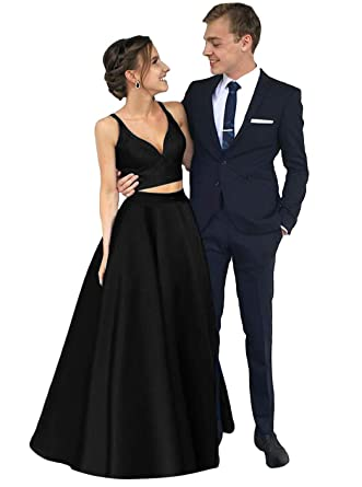 884fa8c6f2 Dymaisei Women s V Neck Two Pieces Satin Prom Dress 2019 Long Formal Party  Dresses US2 Black