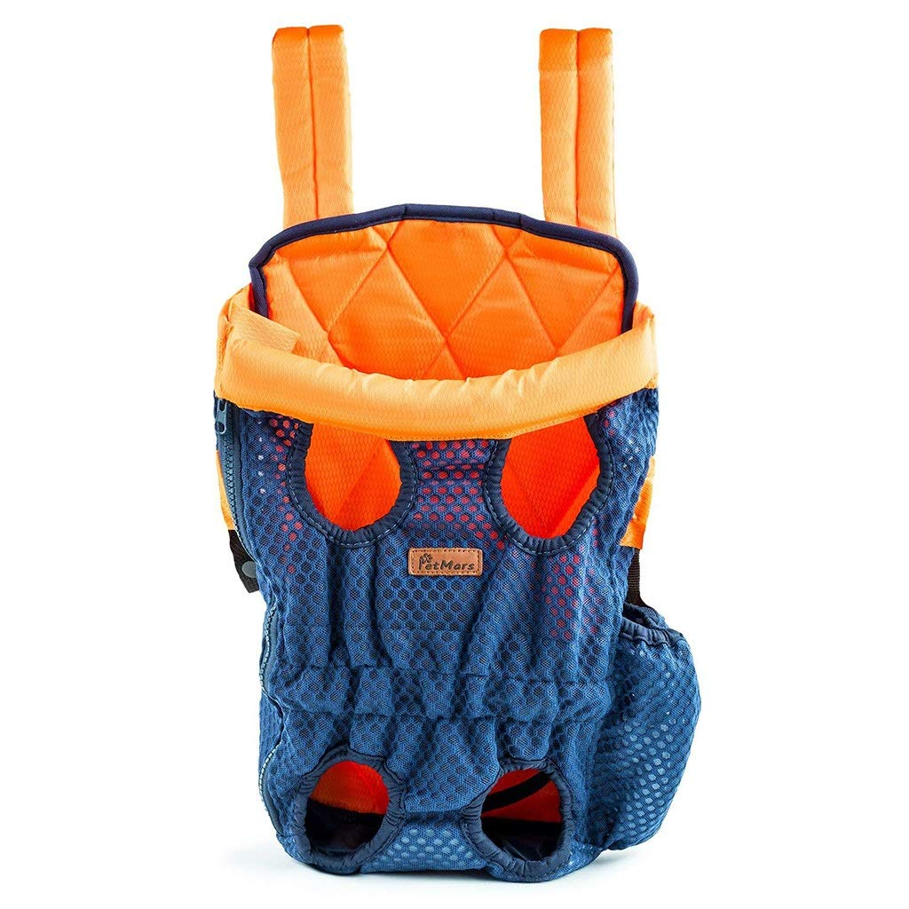 L Pet Carrying Bag, Front and Back Facing, for Small Medium and Large Sized Breeds, Comfortable Back and Shoulder Padding bluee (Size   L)