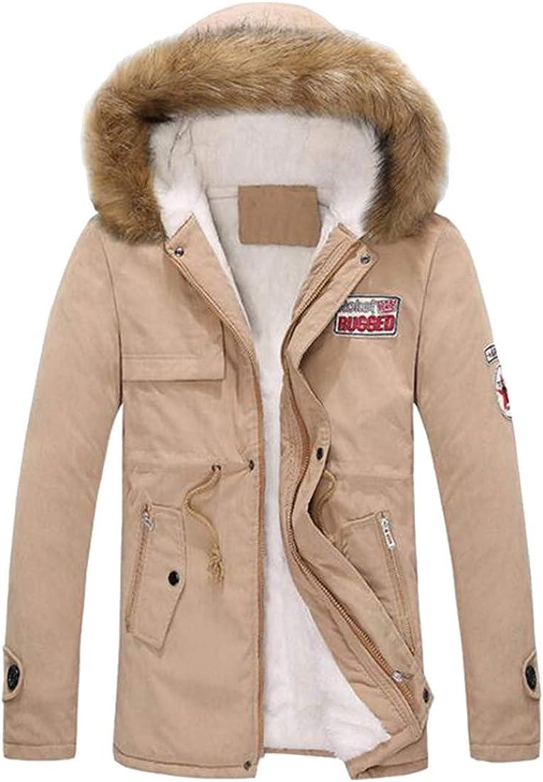OTW Men Faux Fur Hooded Longline Plus Size Fleece Lined Quilted Jacket Parka Coat Outerwear