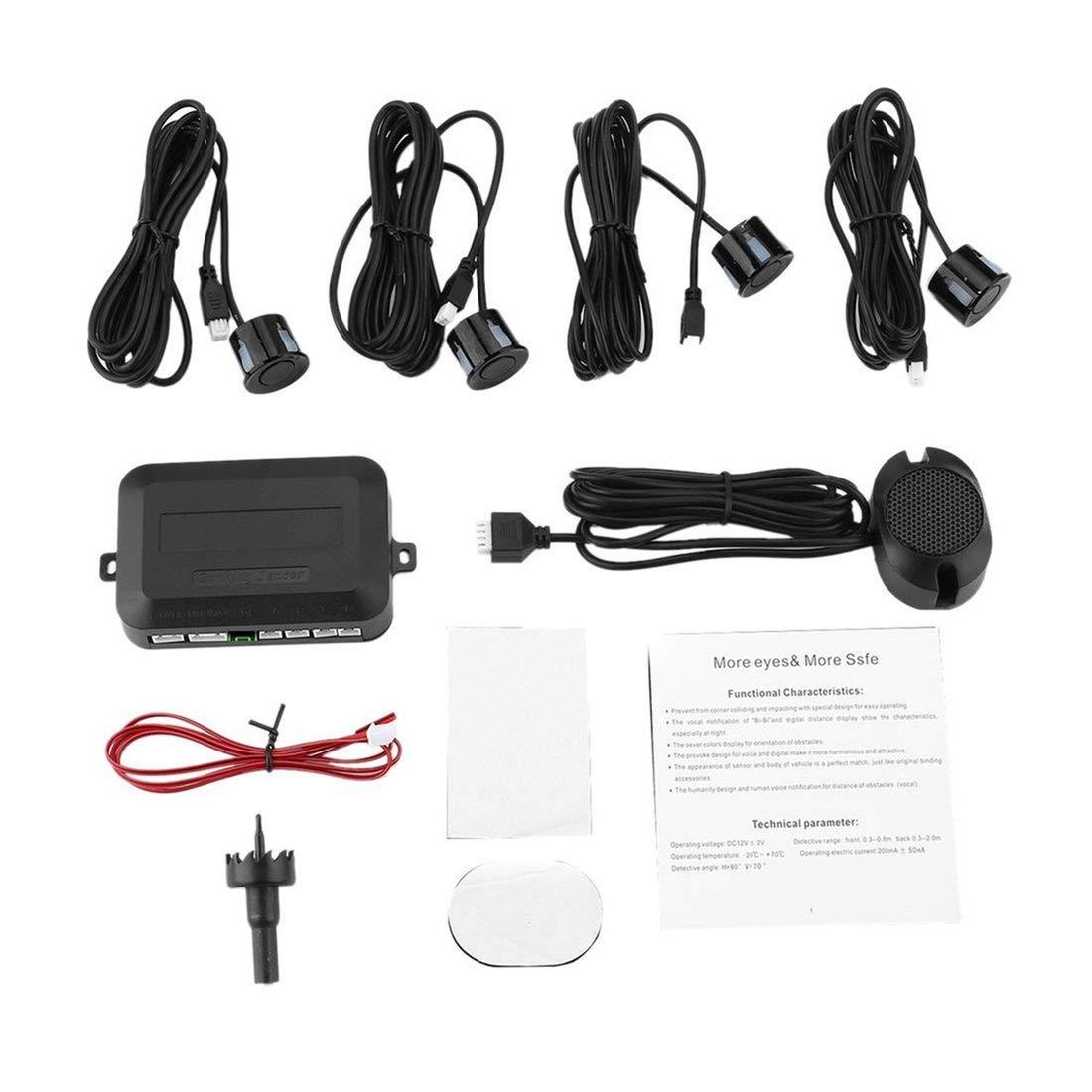 4 Car Parking Sensors Parking Auto Backup Reverse Rear Assistance Radar Rearview Buzzer Sound Alarm Monitor System Parktronic Formulaone