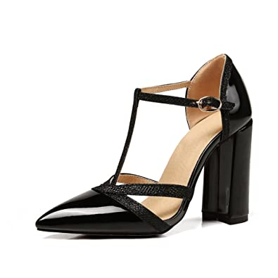 b1158f513bf Women Pointed Heeled Sandals Trendy Closed Toe Block Heel Pumps Ankle  Buckle Party Dress Shoe Black