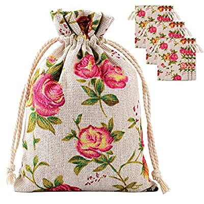 Pangda 30 Pack Rose Drawstring Bags Burlap Flower Pouch Bags Gift Bags 3.9 by 5.3 Inches