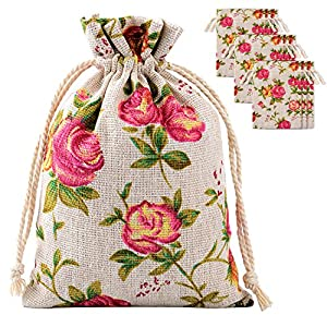 Pangda 30 Pack Rose Drawstring Bags Burlap Flower Pouch Bags Gift Bags Jewelry Pouches for DIY Craft Wedding Party, 3.9…