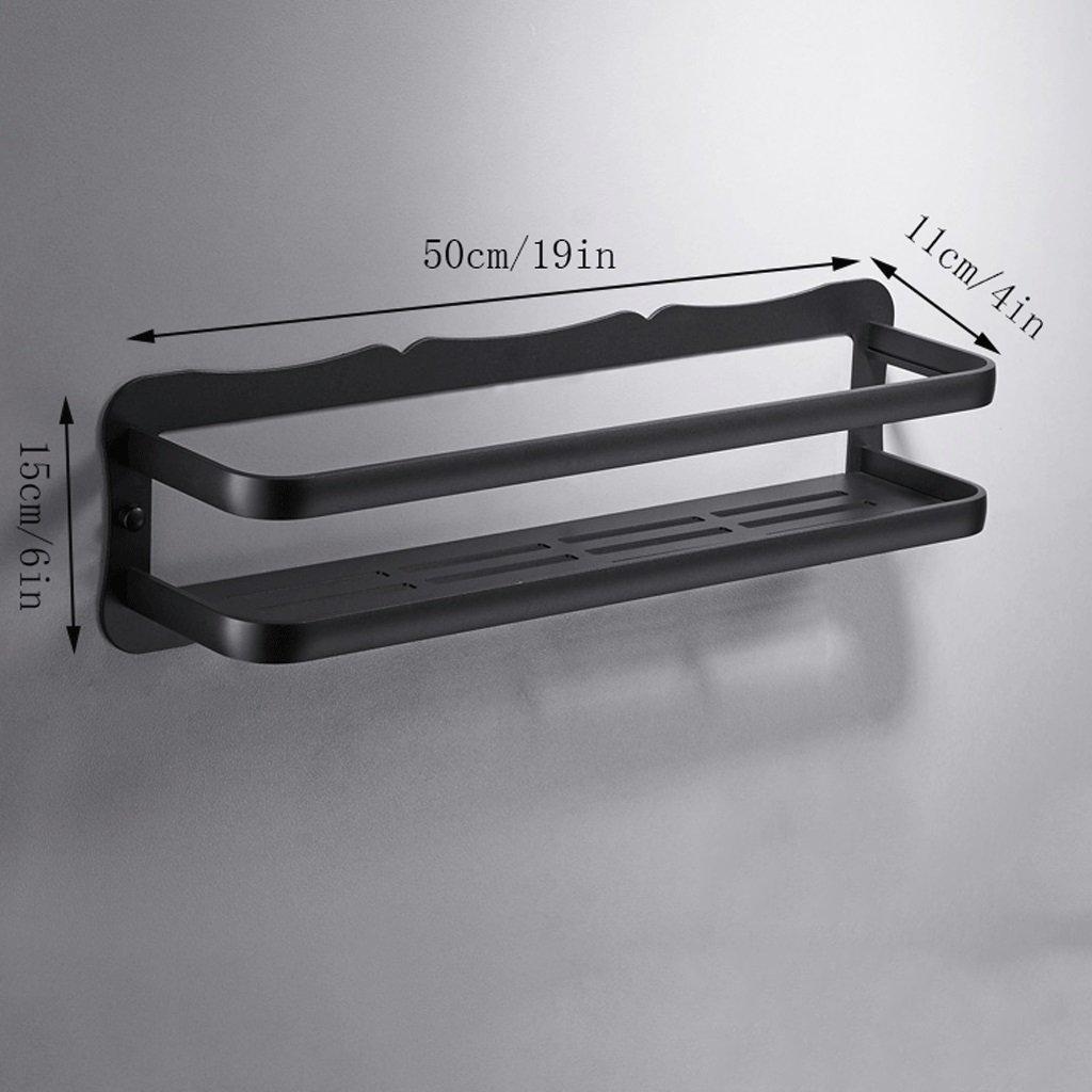 YXN Space Aluminum Bathroom Shelf Bathroom Hardware Accessories Single-layer Cosmetics Black Ledge Long Storage Rack (Size : 50cm)