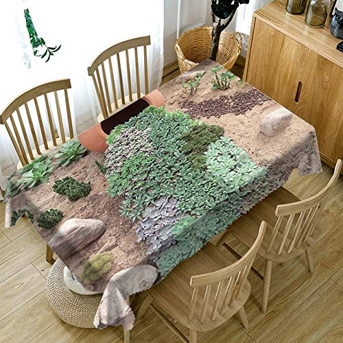 3d Succulent Plants Tablecloth Washable Cloth Thicken Cotton Rectangular and Round Table Cloth for Wedding Customizable size  Color E B07SDM663W