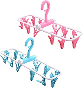 Amlrt 2 Packs Travel Foldable Portable Hanging Drying Rack, Laundry Drying Space Saving Travel Rotatable Plastic 12 Clips (Rose and Blue)